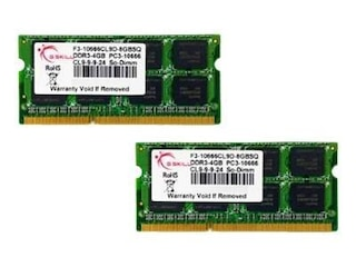 G.Skill DDR3 8GB SQ Serie SO-DIMM Kit 1333MHz, PC3-10600, CL9-9-9-24, 2x 4GB Kit -