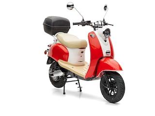 Nova Motors eRetro Star li 50 rot-weiß - 45km/h tragbarer Akkupack, Doppelakkusystem und Topcase -