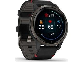 Garmin 010-02430-21 Venu 2 Fitness Smartwatch Schwarz/Grau + Lederband -