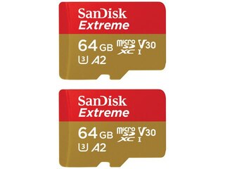 SanDisk 2x microSDXC Extreme 64GB + Adapter (SET:SDSQXA2-064G-GN6AA) -