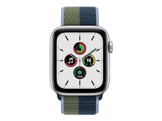 Apple Watch SE, GPS & Cellular, 44 mm, Alu. silber, Sportloop abyssblau/moos -