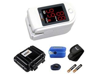 Pulox PO-100 Pulsoximeter mit LED-Anzeige, weiß, inkl. Hardcase, Duracell Bat., Schutzhülle, Nylontasche und Trageband -