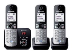 Panasonic Trio DECT Telefon-Set, 3 Mobilteile, silber