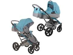 Knorr-Baby Kombi Kinderwagen Voletto happy colour mit Wickeltasche & Sonnenschirm, Farbe blau