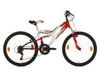 KS Cycling Fully Jugend-Mountainbike, 24 Zoll, rot-weiß, 18-Gang-Kettenschaltung, Zodiac