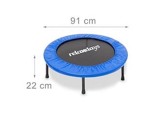 Relaxdays Fitness Trampolin 91 cm Durchmesser, Blau, M -