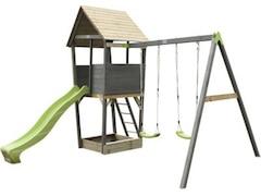 Exit Spielturm Aksent mit Rutsche und Doppelschaukel