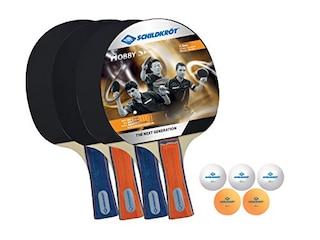 Donic-Schildkröt Tischtennis-Set Hobby für 4 Spieler 4 Schläger 5 Bälle Tasche -
