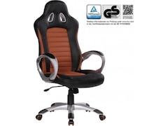 Amstyle SPM1.215 Racer Sport Bürostuhl - Chefsessel Kunstleder, caramel / schwarz