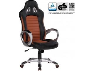 Amstyle SPM1.215 Racer Sport Bürostuhl - Chefsessel Kunstleder, caramel / schwarz -