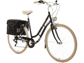 KS Cycling Damen-Cityrad, 28 Zoll, schwarz, 6 Gang Shimano Tourney inkl. Doppelpacktasche, »Verona« -