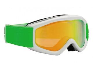 Alpina Carat D Multimirror Kinderskibrille (812 weiß/grün, Scheibe: MULTIMIRROR, orange) -
