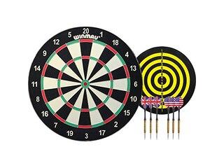 Winmau Starter Dart Set, Family Dart Game - Dartscheibe mit 6 Steeldarts -