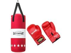 Bad Company Profi Jugend Box-Set inkl. Canvas Boxsack 60 x 25cm gefüllt und 8-OZ PVC Boxhandschuhe rot