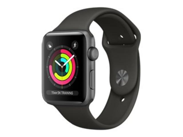 Apple Watch Series3 GPS, 38mm Aluminiumgehäuse, SpaceGrau, mit Sportarmband, Schwarz
