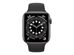 Apple Watch Series 6 LTE 44mm Aluminiumgehäuse Space Grau Sportarmband Schwarz MG2E3FD/A