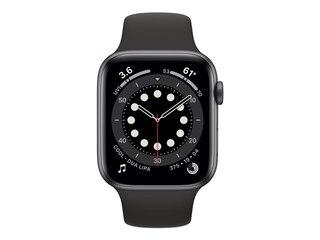 Apple Watch Series 6 LTE 44mm Aluminiumgehäuse Space Grau Sportarmband Schwarz MG2E3FD/A -