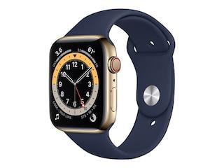 Apple Watch Series6 GPS+ Cellular, 44mm Edelstahlgehäuse Gold, Sportarmband Dunkelmarine -